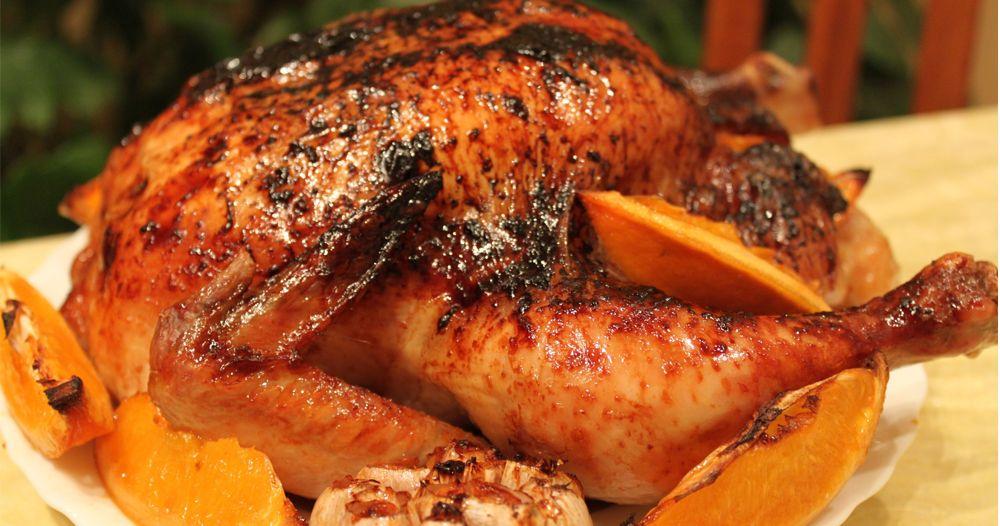 Курица, запечённая с апельсинами