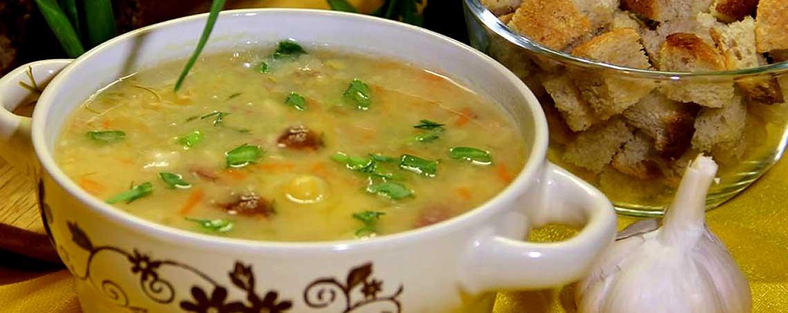 Гороховый суп с копчёной скумбрией
