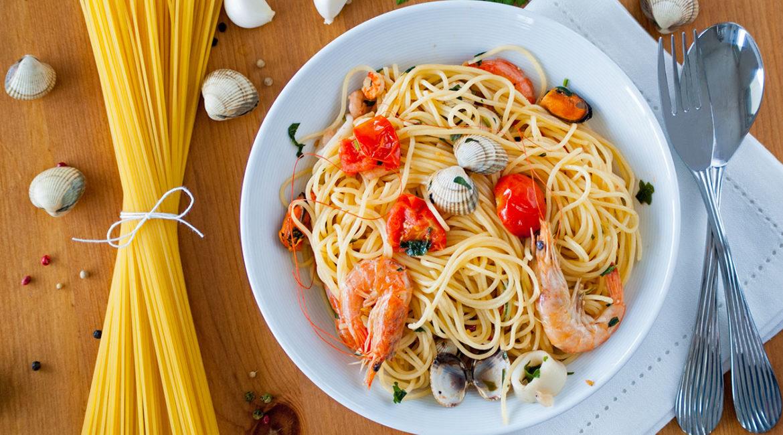 Паста с рыбой и морепродуктами