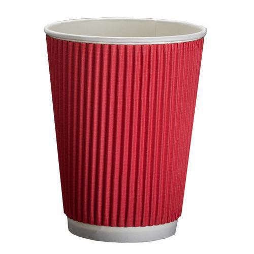 Стакан бумажный одноразовый ГОФРА КРАСНЫЙ для горячих напитков 350 мл