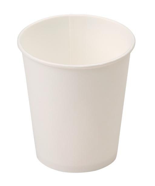 Стакан одноразовый бумажный однослойный белый, для горячего, 100 мл